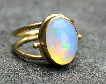 Welo opal ring ethiopian opal ring oval opal ring fire opal opal ring opal gold ring opal ring 18 kt gold ring solid mozeypictures Gallery