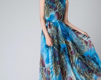 Blue Chiffon dress, chiffon dress, print dress, party dress, bridesmaid dress, maxi dress, summer dress, long dress, sleeveless dress 1522