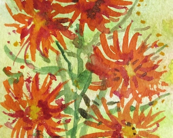 Original ACEO watercolor painting -Orange Flowers- Miniature Painting, Small Painting, Art and Collectables-ACEO Watercolor 2.5 x 3.5 inches