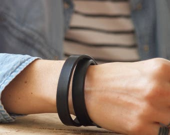Double Wrap Leather Wristband Personalised Leather Cuff Custom Leather Bracelet Black Leather Band Leather Anniversary Gifts Mens Bracelet