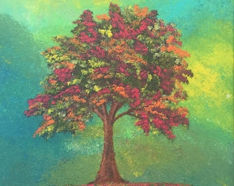 """Colorful Tree original 11"""" x 14"""" acrylic painting on stretched canvas."""