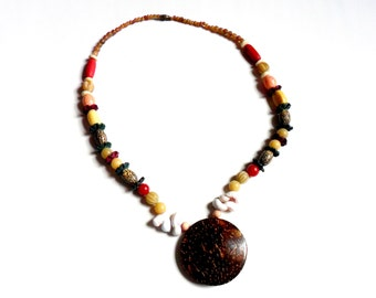 Vintage Bohemian Tribal Necklace Coconut Carved Wood Shell Stone Plastic