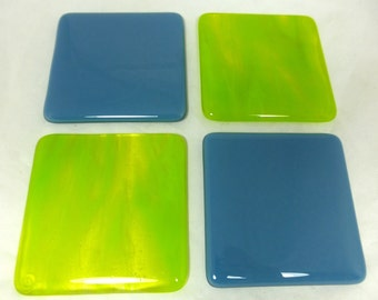 Fused Glass Coasters with Cool Cobalt Blue and luscious Lime Green - set of 4 MTO