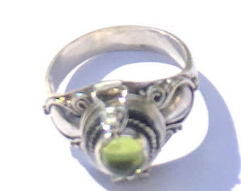 Sz 7, Vintage Poison Ring, Peridot, Sterling Silver Ring, Medieval Design,Neo Victorian, Pill Box Ring,Cremation Ring,Compartment Ring