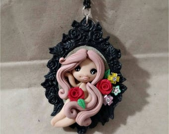 Polymer clay handmade necklace.