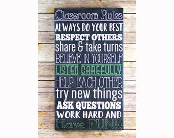 Classroom Rules Classroom Sign, Classroom Decor Sign, Teacher Appreciation Gift, Teacher Gifts, Classroom Decoration, Classroom Wall Decor