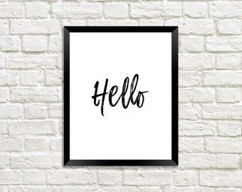 Hello printable wall art, hello printable home decor, hello printable for her, hello printable for him, hi printable wall art, hey printable