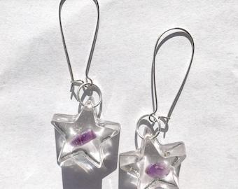 Amethyst Star Resin Earrings