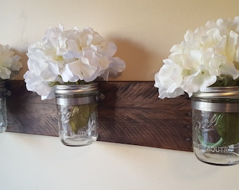 Rustic Mason Jar Wall Organizer, Reclaimed Pallet Wood, Flower Vase, Rustic Wall Decor