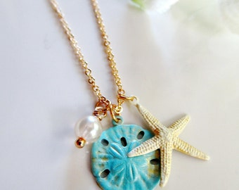 Teal Sand Dollar Necklace, White Starfish, Patina Charm, Ocean Blue, Czech Bead, Beach Necklace, Shell Jewelry