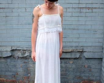70s White Gauze Summer Dress Wedding