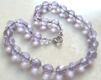 Vintage Amethyst Glass Necklace, Chunky,  Sterling Silver, 50's Necklace.