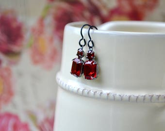 Ruby Glass Earrings, Vintage Style Red Drop Earrings, Red Rhinestone Earrings, UK, Formal Jewelry, Dark Red Jewelry, Gift Women Earrings, UK