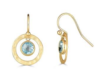 Gold Blue Topaz Earrings, December Birthstone Earrings, Blue Earrings, Minimalist Earrings, December Birthday Gift Ideas, Birthstone Jewelry