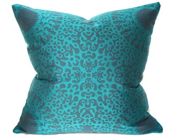 Outdoor pillow cover, teal pillow cover, Maharam fabric, centric splendor blue pillow, 18x18 pillow cover