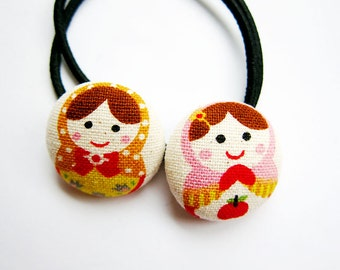 Button Ponytail Holders - Russian Dolls