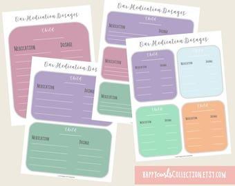 Medication Dosages Sheet {Organization Sheet} Instant Download // 8.5x11