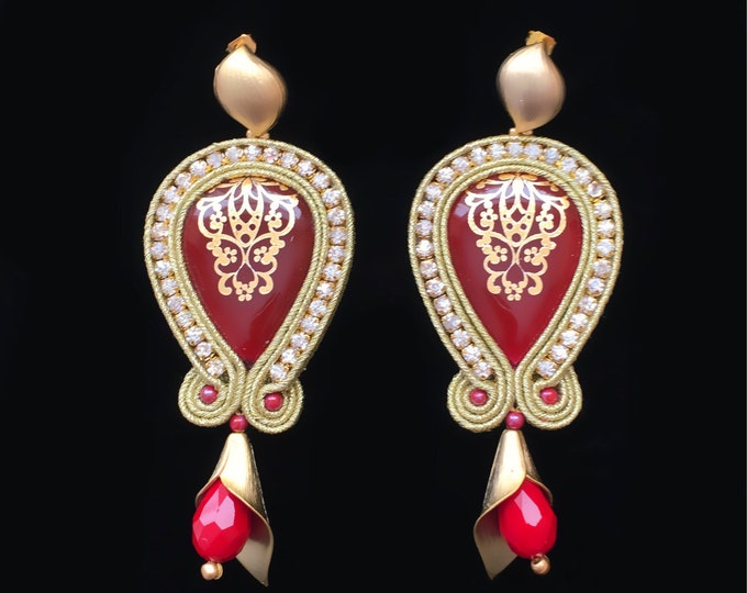Red and gold soutache earrings