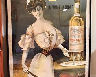 Antique French Kina Lillet original wine poster framed