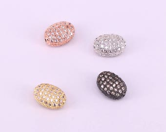 10PCS Metal  Micro Pave White Cubic Zirconia Oval Shape Spacer Beads,  Jewelry Making