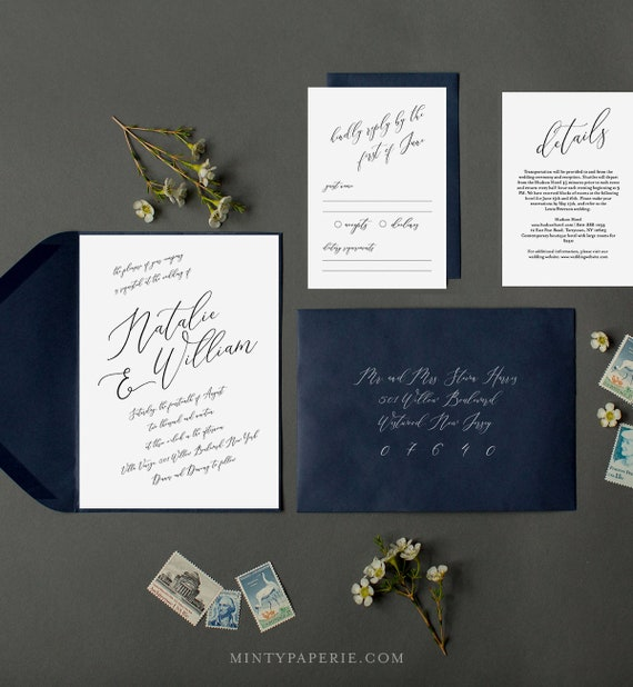 Wedding Invitation Template, INSTANT DOWNLOAD, 100% Editable, Modern Calligraphy Invite, RSVP & Detail, Printable, Rustic, Templett #046A