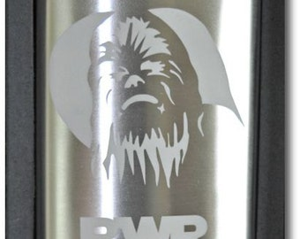 Etched Chewbaca Star Wars, Sci-Fi Stainless Steel 8 ounce Flask by Jackglass on Etsy