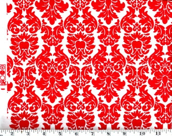 1 Yard, Red Damask on White Cotton