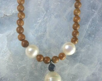 Pearl, Soldalite, Brown Tourmaline, and Pyrite beaded necklace. ONE OF A KIND