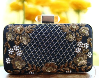 Black Clutch | Evening Clutch | Wedding Clutch | Gift for Her | Mother's Day Gift | Indian Clutch | Embroidered Clutch | Zari Clutch