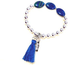 Stretchy bracelet, silver round beads, oval glass beads, deep blue, tassel, inspirational, civility, see beauty, hear goodness, speak kindly