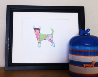 SALE! Dora and Boots - Chihuahua Dog Silhouette
