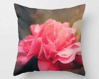 Throw Pillow Cover Camelia Pink Green Rose Flower Floral Feminine Nature Photo Case Home Bedroom Livingroom Bed Couch Sofa Decor