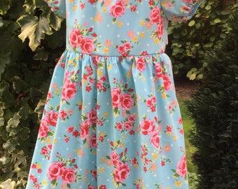Handmade Dress Pretty Blue Floral Peasant dress age 4-5 years