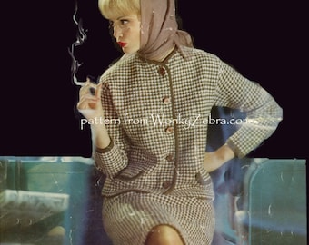 Vintage Knit knitting Pattern 103 PDF Jaeger Birds Eye Check Suit from WZ WonkyZebra
