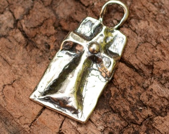 Rustic Sterling Silver Cross Charm, Have Faith Cross