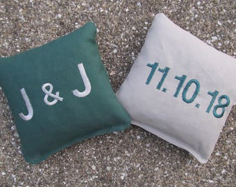 Personalized Wedding Cornhole Game Bags - Initials and Date in Block-Type Font - Set of 8 Shown in Dark Green and Grey - Great Gift!!