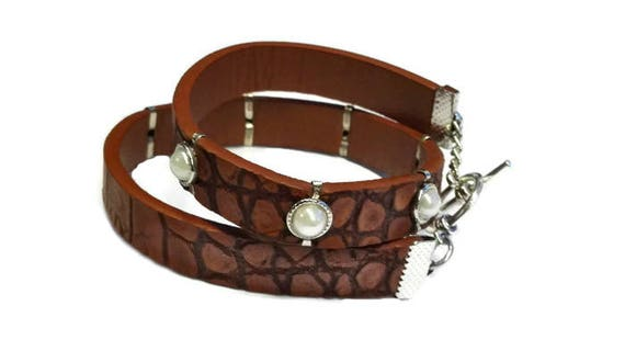 Brown wrapp recycled faux leather bracelet with white beads for woman by GunaDesign