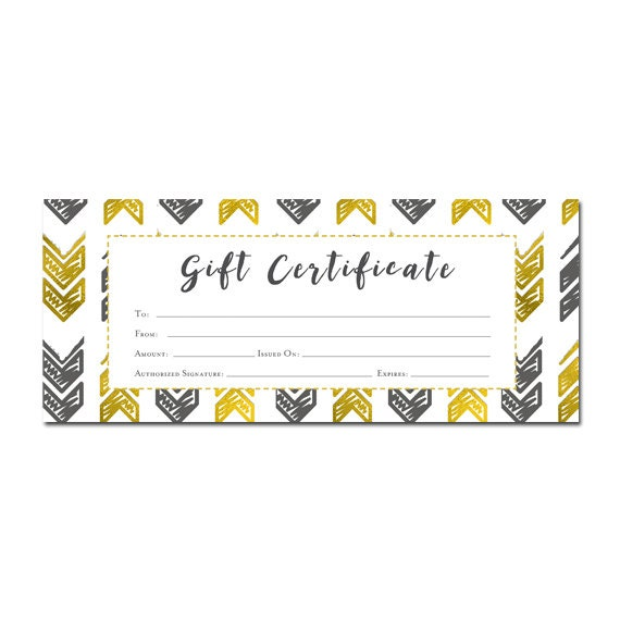 Gold arrows aztec tribal gift certificate premade customer gold arrows aztec tribal gift certificate premade customer appreciation gift certificate template printable blank gift certificate from cafeink on yadclub Gallery