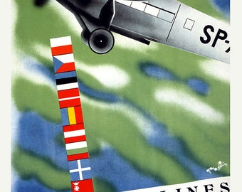 Polish Airlines. Vintage Travel/Tourism Print/Poster