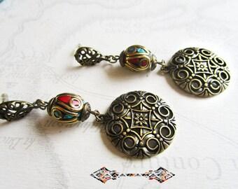 Earrings ethnic, bronze and Tibetan bead