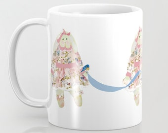 Mug, A Shabby Chic Easter Bunny 11 oz and 15 oz