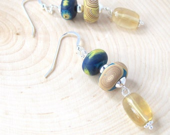 Fluorite Dangle Earrings, Polymer Clay Drops, Art Inspired, Sterling Silver, Oval  Gemstones, Unique One of a Kind, Special Occasion Gift