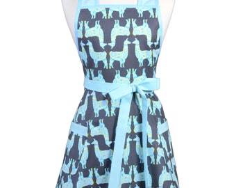 Womens Vintage Apron - Gray and Aqua Llamas Apron - Cute Retro 50s Style Kitchen Apron with Pocket - Over the Head Apron