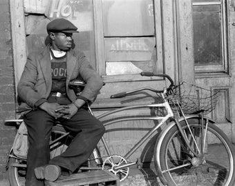 "1941 Man & His Bicycle, Chicago, Illinois Vintage Photograph 8.5"" x 11"" Reprint"