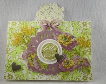 love card, valentine card, handmade love you card, valentines day card, hello love card, greeting love card