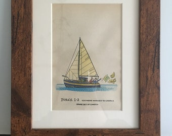 Thelwell sailing hand watercoloured image