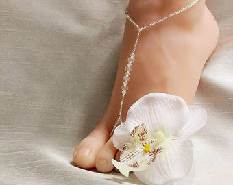 Beach Wedding Barefoot Sandals Swarovski Barefoot Sandals Bridal Foot Jewelry Barefoot Sandals Footless Sandals Bridal Shoes