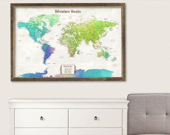 Large World Map Canvas Art Framed World Map Push Pin Large World Map Push Pin Travel Map Push Pin Canvas Travel Map Personalized