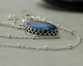 Blue Kyanite Pendant Sterling Silver Necklace