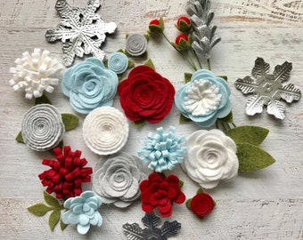 Wool Felt Flowers - Winter Flowers - Metallic Silver Snowflakes - 19 Flowers & 24 leaves - Create Headbands, DIY Wreaths, Felt Garlands